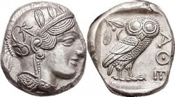 ATHENS , Tet, 449-413 BC, Athena head r/owl stg r, S2526; Choice EF, nrly centered on sl unround flan, types complete; good metal, Very sharply struck...