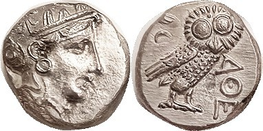 ATHENS, Later type Tet, 300-262 BC, Athena head/owl, S-2547; EF, excellent cente...
