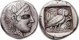 ATHENS , Tet, COPY , of the early type c.450 BC, identified as from Gallery Mint, struck in silver, VF, ltly toned, thick hefty piece, nice.