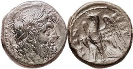 BRUTTIUM , The Brettii, Æ22, 216-203 BC, Zeus head r/ Eagle, cornucopiae at left; VF/F, a hair off-ctr, smooth deep green patina, nice detail on head....