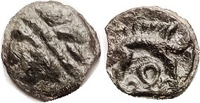 CELTIC , GAUL, Leuci, cast Potin, 17 mm, 1st cent BC, Head l., with diagonal ban...