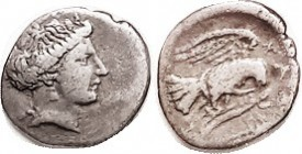 CHALKIS , Drachm, 338-308 BC, Nymph head r/Eagle with snake rt, S2482 (the better style issue); AVF/F+, obv sl off-ctr, head complete, decent metal wi...