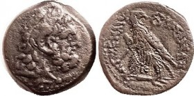 R EGYPT , Ptolemy VI, 180-146 BC, Æ24, Herakles head r/Eagle stg l, on fulmen, looking back, caduceus over shoulder, IC betw legs. Choice VF, centered...