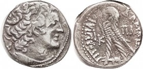 Ptolemy XII, Tet, Ptolemy I head r/Eagle l, L-K-Pi-A; F-VF, sl off-ctr, some striking crudeness, sl flan flaw meanders from cheek to neck, not a big d...