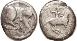 GELA, Didrachm, 490-475 BC, Horseman r, thrusting spear/Forepart of man-headed bull r; AF/F, nrly centered on smallish thick flan, brightish with nigg...