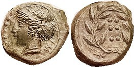 HIMERA, Æ16 (Hemilitron), 420-408 BC, Nymph hd l./6 pellets in wreath, S1110; VF-EF, obv centered, rev somewhat off-ctr, good smooth deep green patina...