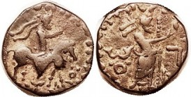 INDO-PARTHIAN , Sasan under Gondophares, 35-55 AD, Æ Tet, Horseman/Zeus stg r, F+, thick narrow flan (20 mm), smooth dark brown with earthen hilightin...