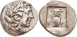 KRAGOS Lycian League Hemidrachm, c. 48-20 BC, Apollo head r/K-P, lyre in incuse square, no symbol; S5267; EF, centered & well struck, only some minor ...