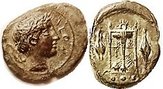 LEONTINI , Æ13x16 (Tetras), 405-402 BC, Apollo head r, leaf behind/tripod betw barley grains, S1118; VF, sl off-ctr on oval flan, olive-brown patina, ...
