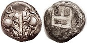 LESBOS , billon Diobol or 1/10 Stater, 1.26 gms, c.500-450 BC, 2 boar hds face-to-face/incuse square, S3488 (£140); VF, nrly centered, decent 2-toned ...
