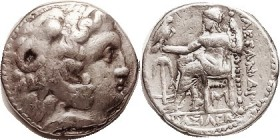 MACEDON , Alexander the Great, Tet, of Babylon, issued by Seleukos I of Syria, Herakles hd r/Zeus std l, anchor & A left, M under seat, Pr. 3359; F+, ...