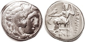MACEDON , Alexander the Great, Drachm, of Kolophon, Herakles head r/Zeus std l, crescent left, N below throne; F-VF/F, centered, good bright metal. (S...