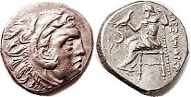 MACEDON , Alexander the Great, Drachm, of Kolophon, Herakles head r/Zeus std l, crescent left, nothing below throne, apparently unlisted thus; appears...