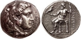 MACEDON , Philip III, 323-317 BC, Tet., of Sidon, Herakles head r/Zeus std l, N (date) left, Sigma-I below throne; Pr.3501; VF, well centered, traces ...