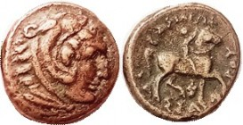 R MACEDON , Kassander, 319-297 BC, Æ18, Herakles head r/Youth on horse r, grape bunch below, S6754, strong VF, quite 2-toned tan patina, hints of gree...