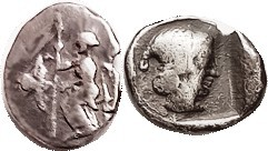 MANTINEA , Arkadian League, Triobol, 462-428 BC, Zeus std l., eagle left/Kallisto head r, in incuse square, sim. S2675 (£250); F+/F, oval flan with sm...