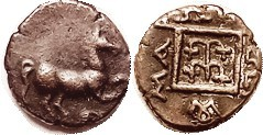 MARONEIA , Æ19, c.400-350 BC, Horse r/vine in square, lgnd, S1636; VF+, a touch off-ctr, medium brown patina. A very common coin, but much nicer than ...
