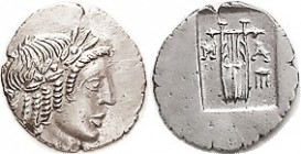 R MASIKYTES , Lycian League Hemidrachm, c. 27-20 BC, Apollo head r/M-A, Lyre, tripod, in incuse square; EF, somewhat off-ctr but nothing lost, good br...