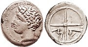 MASSALIA , Obol, 380-336 BC, Youthful head l./MA in wheel, S72; AEF, centered, well struck, good style; decent metal with lt tone; tiny die flaw under...
