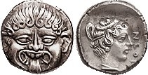 NEAPOLIS (Macedon), Hemidrachm, 424-350 BC, Facing Gorgoneion/nymph head r, lgnd...