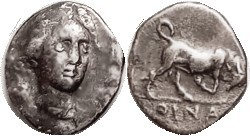 OINOE , Drachm, c.300 BC, Artemis head facg 3/4 rt/bull butting r, S4620 ( £750 ); VF, pretty well centered on oval flan, obv with some asstd sl surfa...