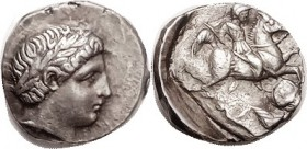PAEONIA , Patraos, 340-315 BC, Tet, Apollo head r/ Horseman skewering fallen enemy, S1520; AEF, obv sl off-ctr to SW but head complete & lovely, in gr...
