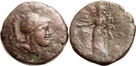 PANORMOS , Æ26, after 241 BC, Helmeted Ares hd r/ Tyche stg l; F+/AF, smooth greenish-reddish-brown patina, nice bold head. Rare (A GVF brought $477, ...