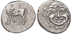 PARION , Hemidrachm, 400-300 BC, Bull stg l., hd turned back, laurel branch below/Facing Gorgoneion, as S3919; EF, rev somewhat off-ctr but head compl...