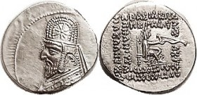 PARTHIA, Orodes I, Drachm, Sel.31.6, Choice EF, virtually mint state; Obv sl off-ctr, rev perfectly centered & unusually well struck, bright lustery s...