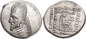 "R PARTHIA, Orodes I, Drachm, Sellw 31.7, rare type with anchor on tiara; VF, nrly centered, good bright silver, ex CNG 5/02 described as ""only the sec..."