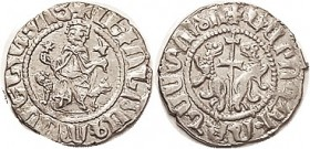 ARMENIA , Levon I, 1198-1219, Ar Tram, 22 mm, King facg on lion throne/cross betw lions; Choice EF, good lustery silver, well struck for this with les...