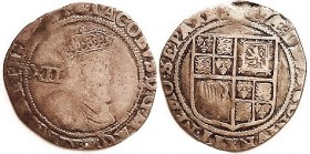 James I, Shilling, S2655, G-VG/AF, small flan or sl clipped, tops of most lettering off; good metal with moderate tone; portrait clearly outlined at l...