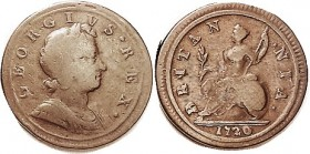 George I, 1/2 Penny 1720/19, not listed, definitely an overdate tho not clearly over '19; the fat 0 different from this date's norm; Nice VG-F/F, exce...