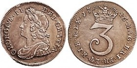 George II, Ar 3 Pence 1746/3, Choice EF, lovely metal with rich old toning, problem-free.