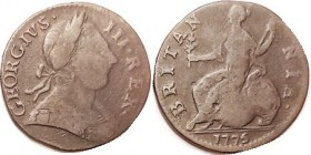 George III, 1/2 Penny, 1775, decent VG, medium brown. A well made contemporary counterfeit.