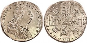 George III, Sixpence 1787 No Hearts, Choice AU, strong flashy luster, sharply struck. (An EF brought $196, CNG eAuc 9/16.)