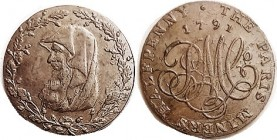 Conder Token 1/2d 1791, Anglesey, Druid head/PMCo monogram; Choice F-VF or better, lustery brown surfaces, minor die flaws.