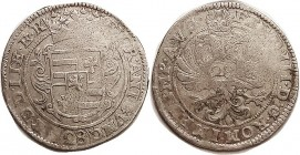 Oldenburg, Anton Gunther 1603-67, with title of Ferd III, Ar 28 Stuber, 41 mm (taler size), Dav.713, 2-headed eagle/shield, F or so, much striking wkn...