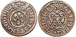 RIGA , Billon Solidus, 1643, Queen Christina, Choice VF, well centered & struck, good even brown color, unusually nice for these.