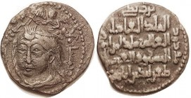TURKOMANS , Zengid Atabegs of Mosul, Qutb al-Din Mawdud, 1149-70, Male head 3/4 left, 2 winged creatures above/lgnds, SS-59; F-VF, sl off-ctr, brown p...