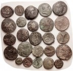 GREEK coins, 25 assorted, quite low grade, generally probably not identifiable. Four lots available.