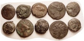 CARTHAGE, 10 coins, various types, average VG or better.