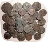 LATE ROMAN, 33 asstd coins, generally around F & identifiable, many with lt to moderate detractions.