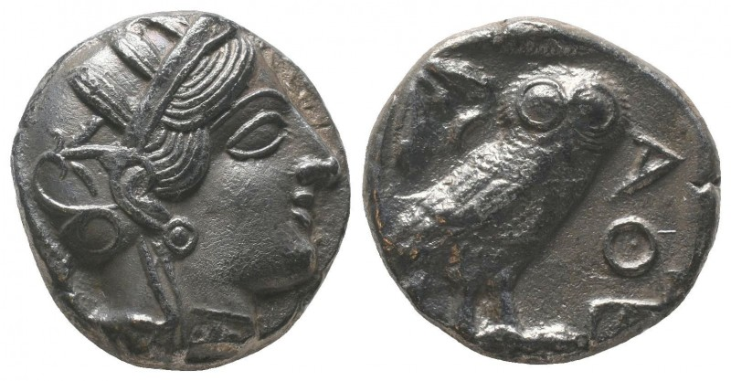 Attica, Athens AR Tetradrachm. Circa 454-404 BC. Helmeted head of Athena right /...