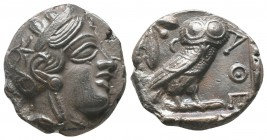Attica, Athens AR Tetradrachm. Circa 454-404 BC. Helmeted head of Athena right / Owl standing right, head facing; olive sprig and crescent behind; AQE...