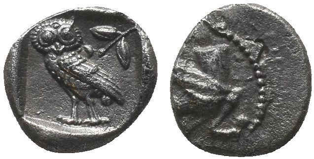 CILICIA, Uncertain. 4th Century BC. Ar Silver Obol. Forepart of griffin to left....