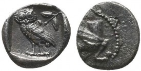 CILICIA, Uncertain. 4th Century BC. Ar Silver Obol. Forepart of griffin to left. Rev. Owl standing left, head facing; behind, olive spray and crescent...