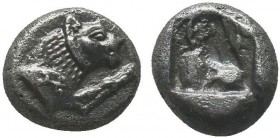 Greek, Caria, c. 520-490 BC, AR Mylasa. Obverse: Forepart of a lion right; monogram on shoulder Reverse: Incuse punch with pattern Reference: SNG von ...