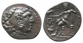 ISLANDS off IONIA, Chios. Circa 290-275 BC. AR Drachm. In the name and types of Alexander III. Head of Herakles right, wearing lion skin / Zeus Aëtoph...