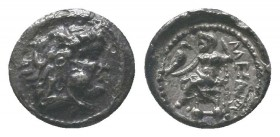 "Kings of Macedon . Alexander III. ""The Great"" (336-323 BC). AR Drachm  Condition: Very Fine  Weight: 0.60 gr Diameter: 9 mm"
